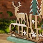 Rustic  Woodland theme Wooden Merry Christmas Mantel and shelf Sign Plaque